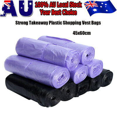 Bulk 100pc Strong Plastic Singlet Bags Grocery Bag Shopping Bags Black or Purple