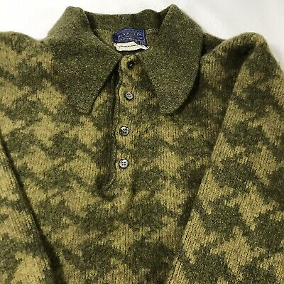 Pendleton Mens Virgin Wool Houndstooth Sweater Green Small Vintage