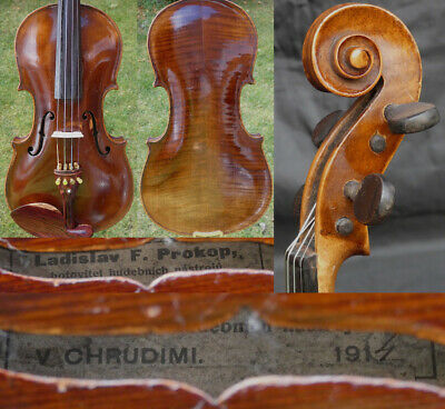 FINE ! ORIG. 4/4 ANTIQUE BOHEMIAM VIOLIN: Ladislav PROKOP 19th fiddle 小提琴 ヴァイオリン