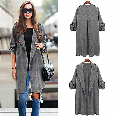 Women Long Waterfall Coat Ladies Cardigan Jacket Overcoat Jumper Tops Plus Size