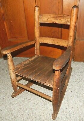 Antique Primitive Solid Hardwood Childrens Kids Rocking Chair 24 Inches Tall EC