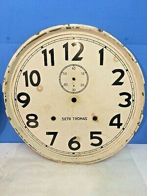 """Antique Seth Thomas Weight Driven Wall Clock Dial METAL  11 3/4"""" DIA. WITH BEZEL"""