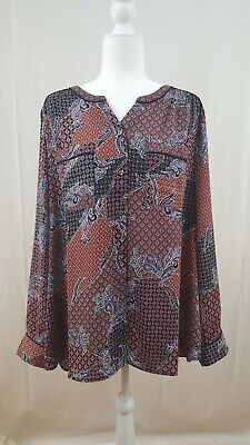 NWT Dress Barn 3X  Button Up Floral Print Blouse Roz&Ali