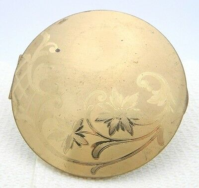 VTG Elgin American Gold Tone Flower Floral Etched Mirror Round Brass Compact