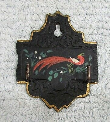 Old Black Cast Iron Pot Holder Key Hook Hand Painted Paradise Red Bird FREE S/H