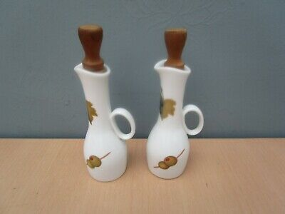 """2 Royal Worcester """"Evesham"""" Oil Bottles With Stoppers"""