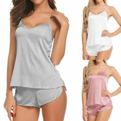 Satin Pajama Babydoll Set Cami Solid Sexy Women Shorts Sleepwear Casual Lingerie