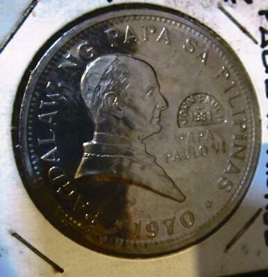 1970 1 piso NICKLE coin Pagdalaw ng Pope Paulo V1 Marcos PHILIPPINE Counterstamp