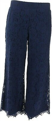 Isaac Mizrahi Floral Lace Knit Culotte Pants Dark Navy XS NEW A353075