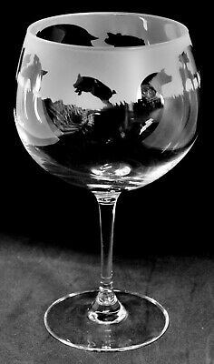 BLACK PIG DESIGNS ON LARGE GIN BALLON GLASS ADD NAME IN SCRIPT LETTERING