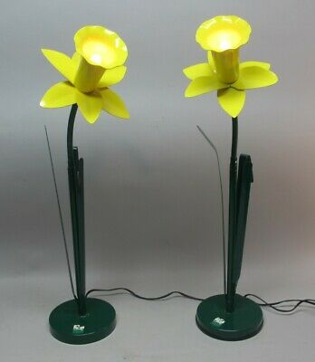 """Fine Pair of Vintage BLISS """"POP ART"""" DAFFODIL Lamps  c. 1980s  mid-century"""