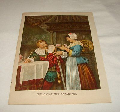 1886 Lithographie ~ The CAVALIER'S Breakfast