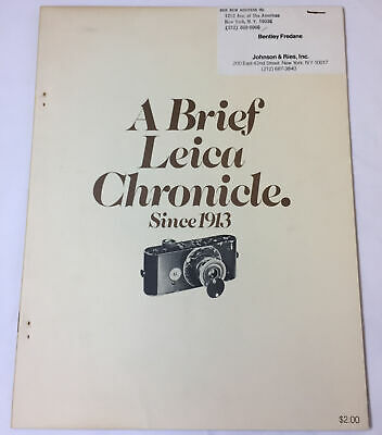 1971 magazine sized booklet ~ A BRIEF LEICA CHRONICLE ~ camera history