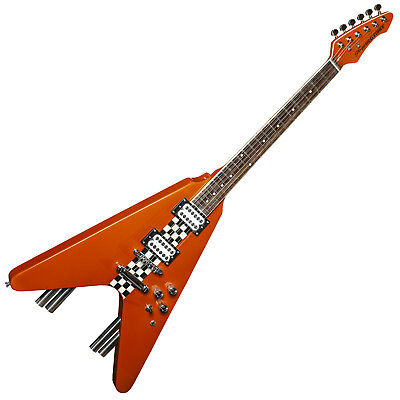 RRP £249 Buy Now £99 Stagg Flying V Electric Guitar G-Force Metallic Orange