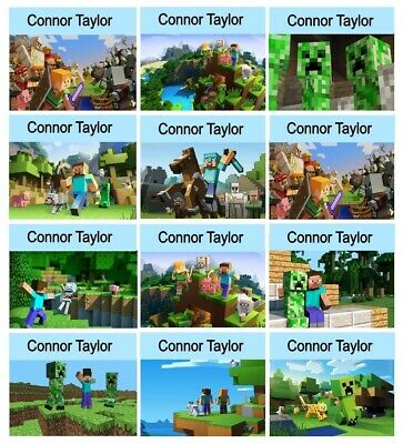 12 x Personalised School Stickers Labels Gloss - Minecraft
