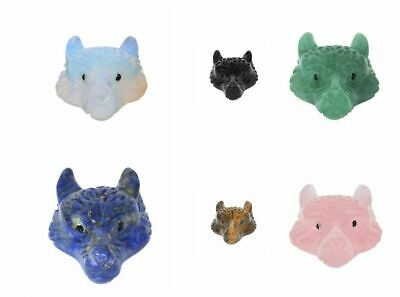 Hand Carved mixed gemstone crystal wolf head pendant bead DIY handcrafts 40mm