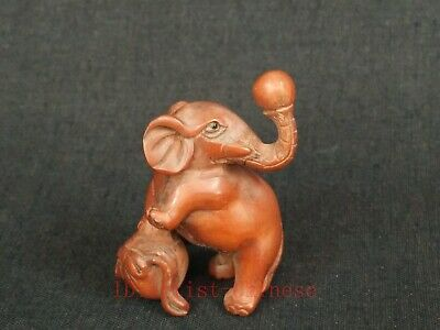 Signature Collected Old China Wood Hand Carving Elephant Figurine Netsuke