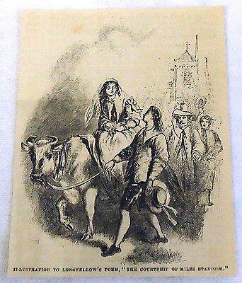 1882 magazine engraving~ THE COURTSHIP OF MILES STANDISH ~ HENRY LONGFELLOW poem