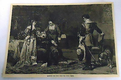 1882 magazine engraving ~ BRINGING NEWS FROM THE FATAL FIELD