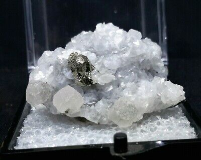 28mm CALCITE with PYRITE THUMBNAIL from Huanzala Mine, Peru FLUORESCENT
