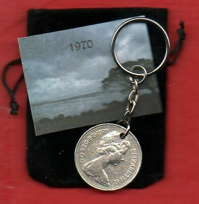 1970 British Old Large Ten Pence Coin Keyring Queen Elizabeth II 50th Birthday