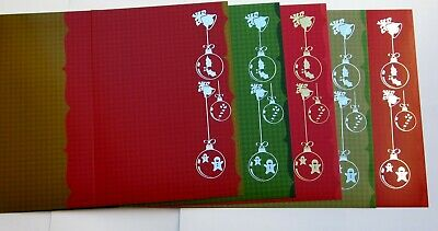 Bells Holly & Fancy Bauble Luxury Foiled Christmas Cards & Envelopes x 5