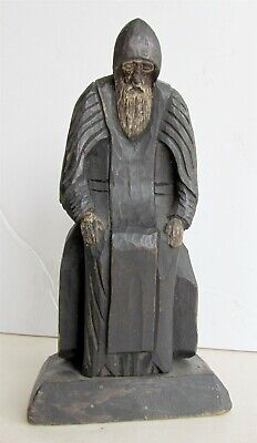 RUSSIAN ANTIQUE WOODEN SCULPTURE OF NIL STOLBENSKY icon