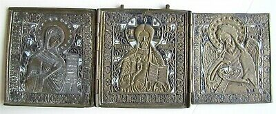 19th CENTURY ANTIQUE RUSSIAN BRONZE ENAMEL ICON TRYPTICH of DEISIS