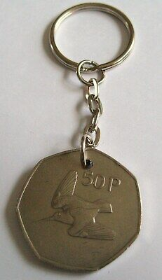 1970 Old Large 50p Fifty Pence Irish Coin Keyring Key Chain Fob 50th Birthday