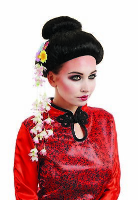 Womens Black Geisha Wig Flowers for Adult Japanese Oriental Fancy Dress Costume