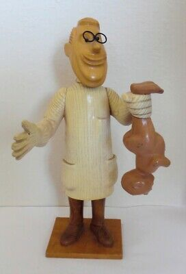 """12"""" Vtg Romer Italy Carved Wood Figure Pediatrician Baby Doctor Sculpture MCM"""