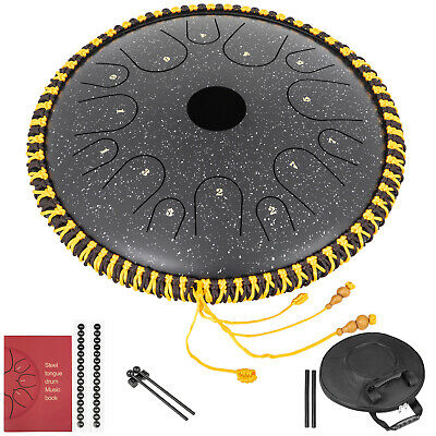 Tongue Drum 14 Notes Dish Shape Drum Hand Pan 14.9 Inches Braided Black w/ Bag