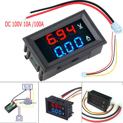 New DC 100V 10A 100A Voltmeter Ammeter Blue + Red LED Digital Volt Meter Gauge