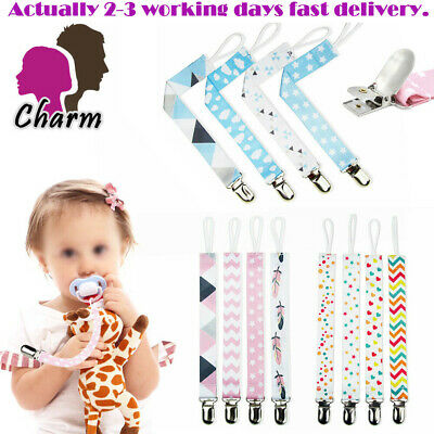 4X Baby Boys Girls Soother Chain Holder Dummy Clips Strap Pacifier Modern Design
