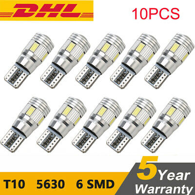 10x T10 CANBUS LED 6-SMD Auto Innenraum Standlicht Beleuchtung Lampe Weiß 12V
