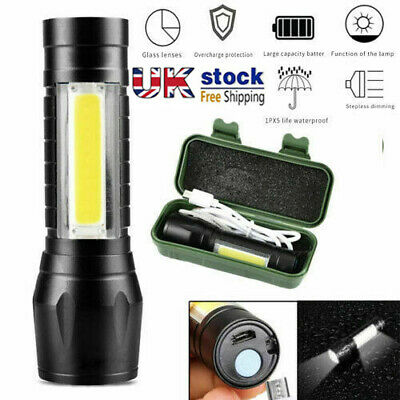 Super Bright T6+COB LED Tactical USB Rechargeable Zoomable Flashlight Torch Lamp