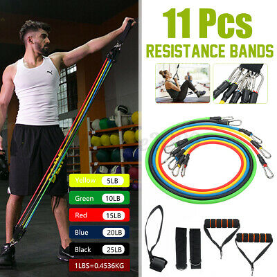 11PCS Resistance Exercise Band Yoga Pilates Abs Fitness Sport Tube Workout Bands