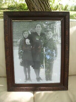 """Vintage Hand Carved Solid Dark Wood Frame w/ Glass & Antique Photograph 18"""" x 23"""
