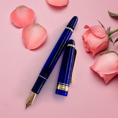 1PC Wing Sung 699 14K Gold Fountain Pen Fine Nib Piston Pen Blue Acrylic Ink Pen