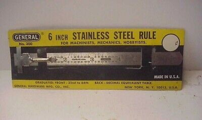 """General Tools #300 6"""" 2 Grad. Stainless Steel Rule w Pocket Clip - NEW"""