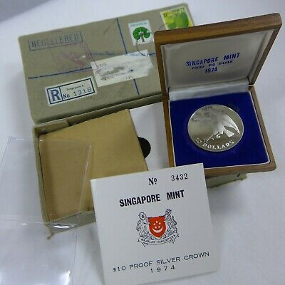 1974 SINGAPORE MINT PROOF SILVER $10 CROWN IN BOX with COA