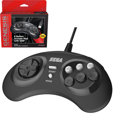 Retro-Bit Official Sega Genesis 8 Button Arcade Pad USB Controller for PC/Mac