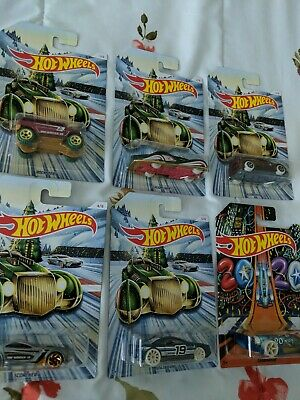 2019 Nickelodeon Hot Wheels Complete Set of 6 Walmart HOLIDAY HOT RODS, BOX SHIP