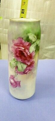 """Antique MZ Austria Vase Hand Painted Roses Flowers 1884 - 1909    11"""" tall"""