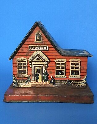 Vintage TIN LITHO Red Schoolhouse CANDY Container Metal LOLLIPOPS Patina DISPLAY