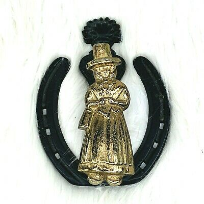 Vintage Welsh Lady Wales Pilgrim Horseshoe Door Knocker Brass Iron Heavy Duty