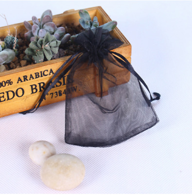 50pcs black Organza Gift Bag Candy Jewellery Pouch Wedding Birthday 7x9cm