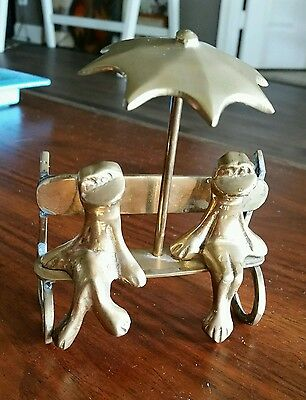 Vintage Brass Sculpture 2 Frogs sitting on a Bench Under Umbrella Folk Art