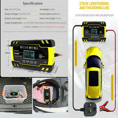 8 Amp 12 Volt 24V Automatic Intelligent 12V Battery Charger Trickle Fast Car Van