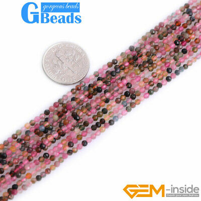 Natural Multi-color Tourmaline Faceted Round Spacer Tiny BeadsFor Jewelry Making